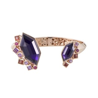 Stephen Webster Goldstruck Rose Gold Amethyst Garnet Ruby and Hematite Hinged Bangle Bracelet