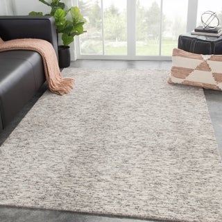 """Emrys Handmade Solid Gray/ White Area Rug - 8'10"""" x 11'9"""""""