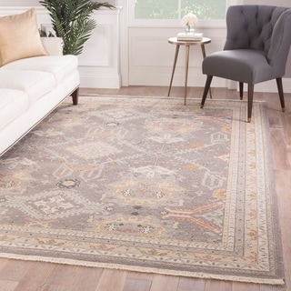 Setenay Hand-Knotted Medallion Gray/ Gold Area Rug - 6' x 9'