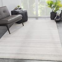 Zen Handmade Geometric Beige/ Gray Area Rug - 5' x 8'