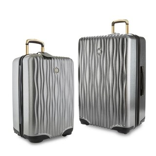 "Joy Mangano E*Lite Metallic Hardside 2 PC COMBO Luggage Set, 22"" Carry-On Luggage & 28"" Check In, Platinum"