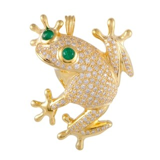 Womens Yellow and White Gold Diamond Pave and Emerald Frog Pendant/Brooch