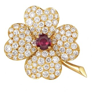 Van Cleef & Arpels Vintage Cosmos Yellow Gold Diamond & Ruby Pendant/Brooch
