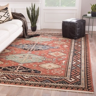 Kashan Hand-Knotted Medallion Red/ Blue Area Rug - 6' x 9'