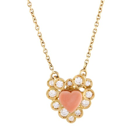 Van Cleef & Arpels Vintage Yellow Gold Diamond and Coral Heart Pendant Necklace