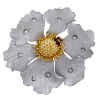 Large Platinum and Yellow Gold Diamond Flower Pendant/Brooch