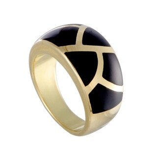 Asch Grossbardt Yellow Gold Tiled Black Enamel Ring