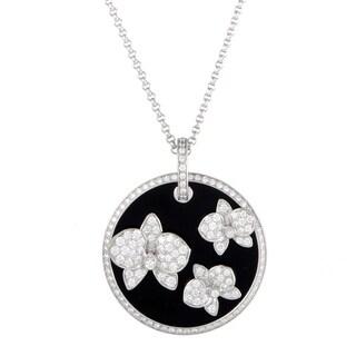 Cartier Caresse d'Orchidées White Gold Diamond and Onyx Round Pendant Necklace