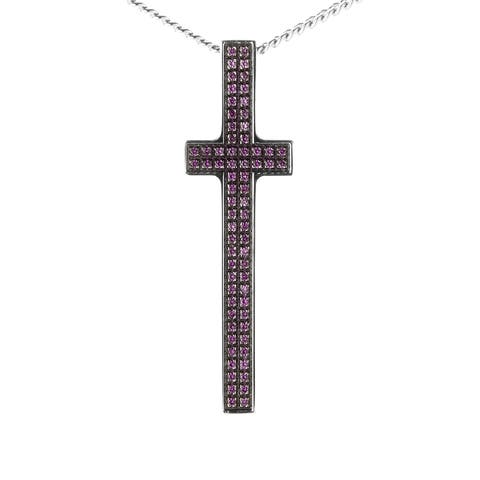 Pianegonda Silver and Ruby Cross Pendant Necklace CAVE0822