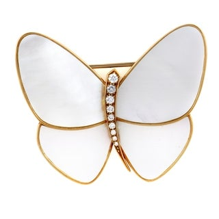 Yellow Gold Diamond and Mother of Pearl Butterfly Brooch
