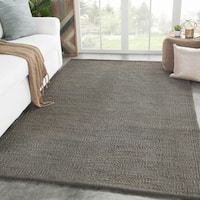 Juniper Home Handmade Castine Natural Solid Dark Grey Wool Area Rug - 8' x 10'