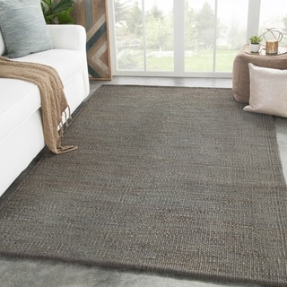 "Castine Natural Solid Dark Gray Area Rug - 8'10"" x 11'9"""