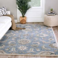 Coventry Handmade Floral Blue/ Taupe Area Rug - 8' x 10'