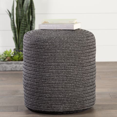 Corinth Solid Dark Gray Indoor/ Outdoor Pouf