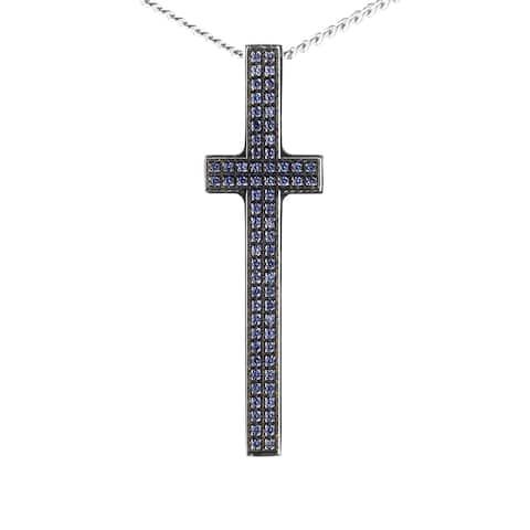 Pianegonda Silver and Sapphire Cross Pendant Necklace CAVE0822