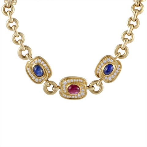 Van Cleef & Arpels Yellow Gold Diamond, Sapphire, and Ruby Pendant Necklace