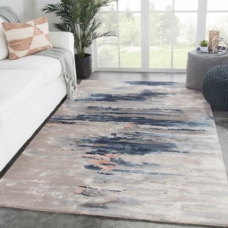 Tennyson Handmade Abstract Blue/ Pink Area Rug - 2' x 3'