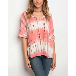 JED Women's High-Low Short Sleeve Tie Dye Top