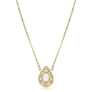 Fremada Italian 14k Two-tone Gold Filigree Teardrop Necklace (adjusts to 16 or 17 inches)