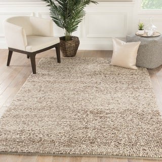 Lindstrand Handmade Solid Tan/ Light Gray Area Rug - 2' x 3'