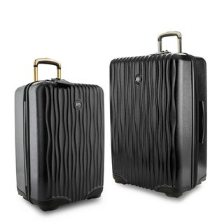 "Joy Mangano E*Lite Metallic Hardside 2 PC COMBO Luggage Set, 22"" Carry-On Luggage & 28"" Check In, Black Onyx"