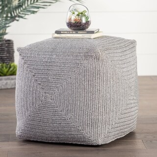 """Chadwick Solid Light Gray Indoor/ Outdoor Pouf (18""""X18""""X18"""")"""