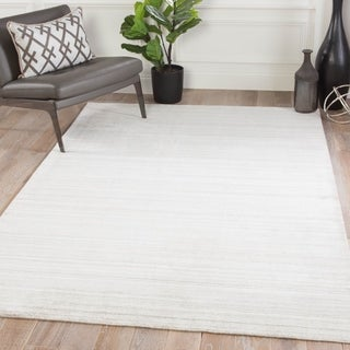 Menzel Handmade Solid Ivory/ Light Gray Area Rug - 5' x 8'