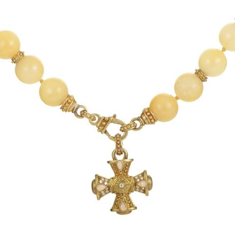 Judith Ripka Yellow Gold Beaded Enhancer Cross Necklace