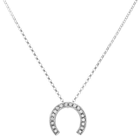 Céline Women's White Gold Diamond Horseshoe Pendant Necklace