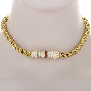 Hammerman Brothers Yellow Gold Diamond and Ruby Choker Necklace