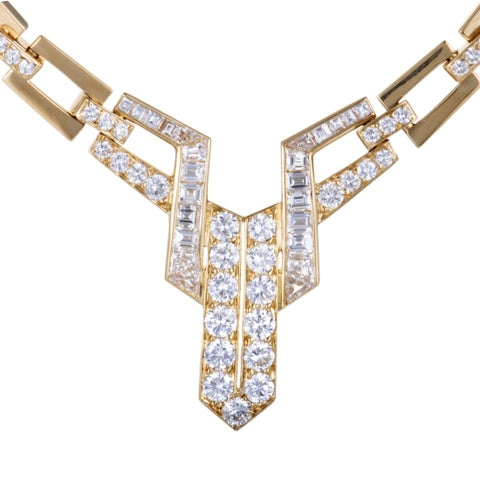 French Hallmarked Yellow Gold Diamond Collar Necklace