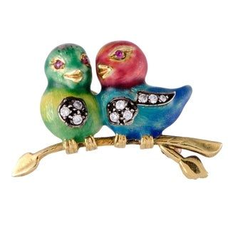 Yellow Gold Diamond Ruby and Enamel Bird Brooch
