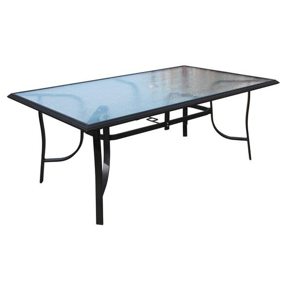 Shop Veranda Classics Peninsula Black Aluminum Glass Dining Table