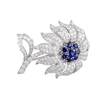 Pre-Owned Tiffany & Co. Platinum Full Diamond and Sapphire Pave Flower Brooch