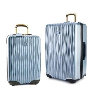 "Joy Mangano E*Lite Metallic Hardside 2 PC COMBO Luggage Set, 22"" Carry-On Luggage & 28"" Check In, Steel Blue"