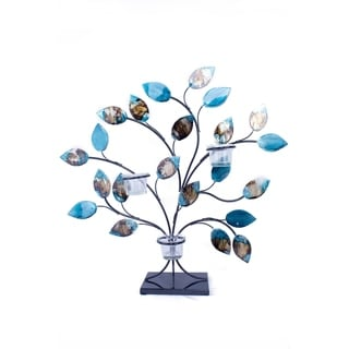 Tree of Light Foiled and Lacquered Blue Decorative 3-Votive Holder