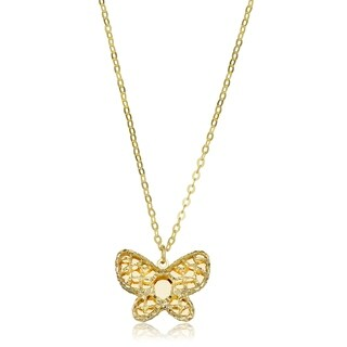 Fremada Italian 14k Yellow Gold Butterfly Necklace (adjusts to 16 or 17 inches)