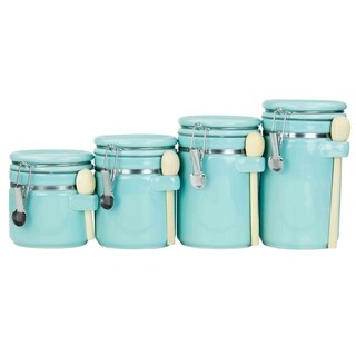4 Piece Ceramic Canister Set with Spoon (Turquoise)