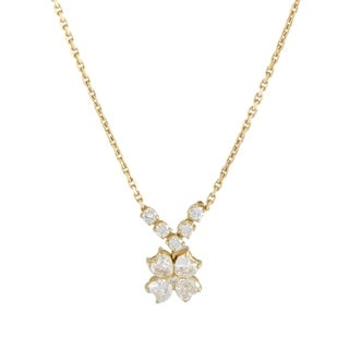 Van Cleef & Arpels Antoinette Yellow Gold Heart Cut Diamond Flower Pendant Necklace