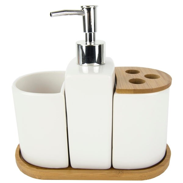 4 Piece Ceramic Bath Accessory Set (White)