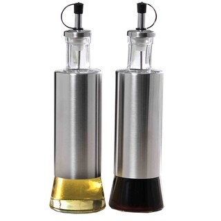2 Piece Stainless Steel and Glass Oil and Vinegar Dispensers