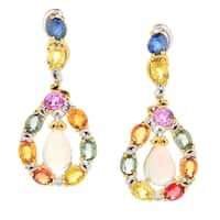 Michael Valitutti Palladium Silver Ethiopian Opal & Multi Sapphire Drop Earrings