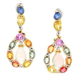 Michael Valitutti Palladium Silver Ethiopian Opal & Multi Sapphire Drop Earrings