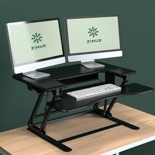 Priage Smart AdjustTM Black Metal/Wood Adjustable-height Standing Double Desk/Desktop Workstation