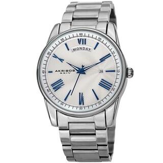 Akribos XXIV Men's Calendar Date Stainless Steel Silver-tone Bracelet Watch