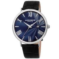 Akribos XXIV Men's Classic Date Black Leather Strap Watch
