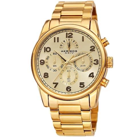 Akribos XXIV Men's Rugged Chronograph Gold-tone Stainless Steel Bracelet Watch
