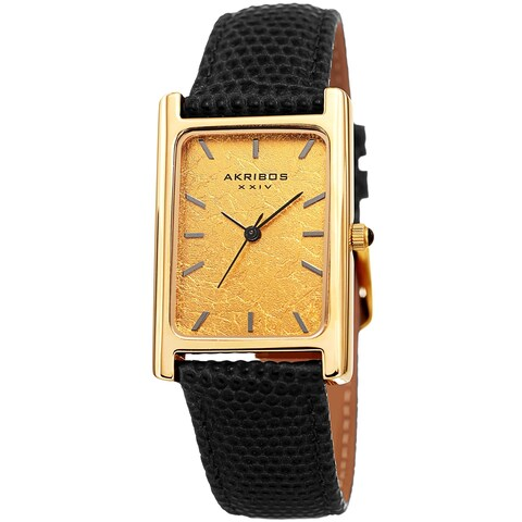 Akribos XXIV Men's Sleek Rectangular Black Leather Strap Watch