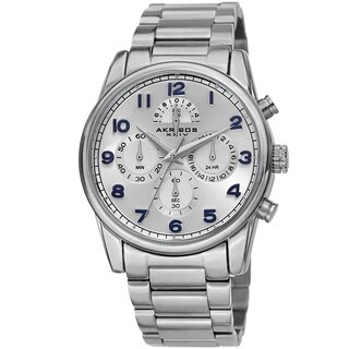 Akribos XXIV Men's Rugged Chronograph Silver-tone Stainless Steel Bracelet Watch