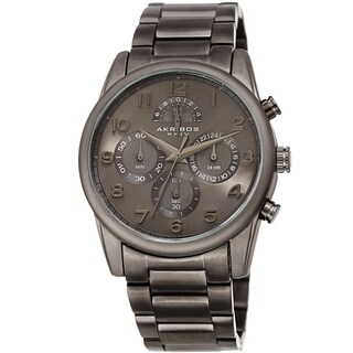 Akribos XXIV Men's Rugged Chronograph Grey Stainless Steel Bracelet Watch